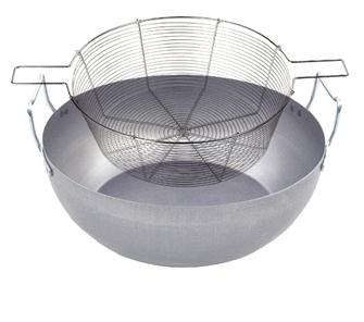 Bassine à friture 36 cm en acier avec panier en fil étamé