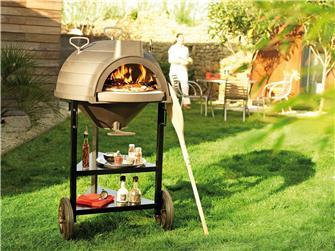 Four à bois en fonte multifonction pains pizzas grillades paëlla sur chariot