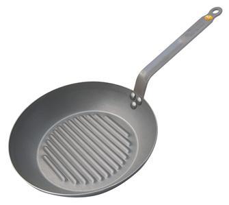 Poêle gril ronde 32 cm tôle acier avec revêtement cire d´abeille