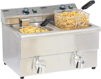 Friteuse électrique 2 cuves de 8 litres avec robinets de vidange