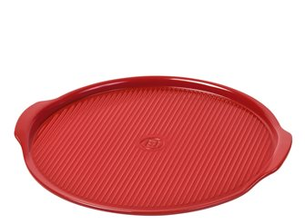 Pizza Stone Médium 32 cm rainurée rouge Grand Cru Emile Henry
