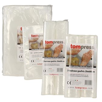 Lot de 200 sacs et 4 rouleaux sous vide alimentaires gaufrés Tom Press