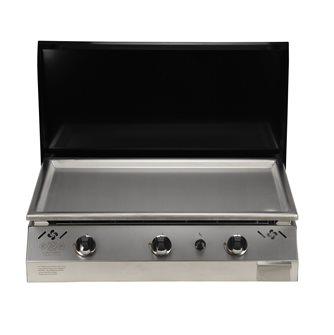 Plancha gaz 9 kW plaque inox 78x45 habillage inox anti-trace capot noir