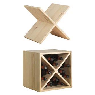Casier en bois pin massif avec croisillon pour 12 bouteilles de vin