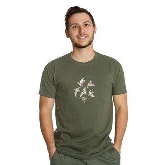 Tee shirt homme Bartavel Nature kaki sérigraphie 6 bécasses en vol L