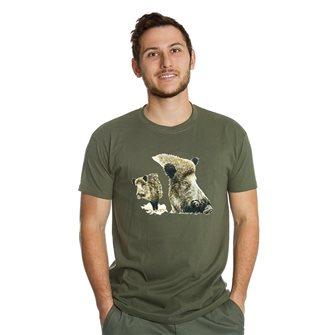 Tee shirt homme Bartavel Nature kaki sérigraphie 2 avants de sanglier M