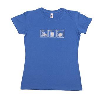 T-shirt femme M Farm Cook Eat Tom Press bleu sérigraphie grise