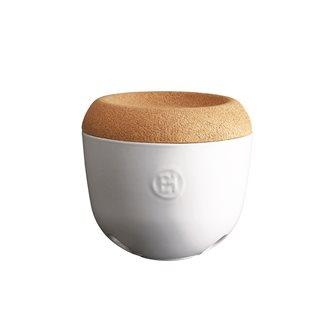 Pot à ail et échalotte céramique blanc Craie Emile Henry couvercle liège