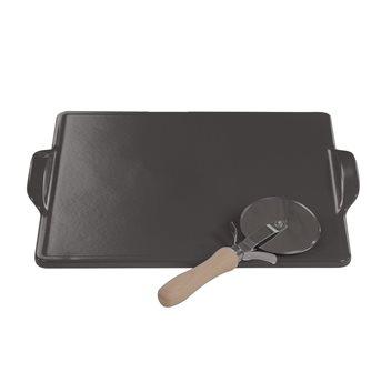 Plaque pizza carrée réfractaire 35 cm en céramique avec roulette à pizza pour four et barbecue