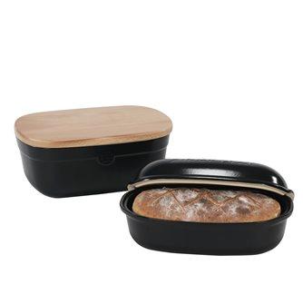 Set moule à miche de pain et boîte de conservation en céramique noir truffe Emile Henry - Exclusivité