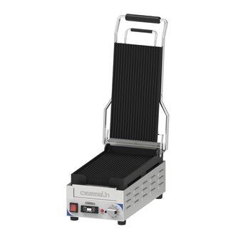 Gril contact panini compact 2,4 kW plaques rainurées 20x37,5 cm avec minuteur et récupérateur à graisse