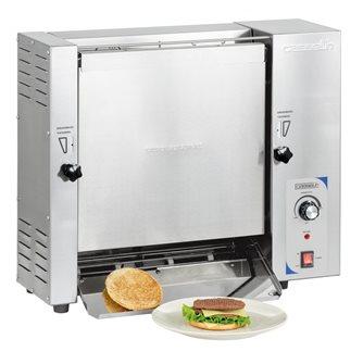 Toaster grille-pain professionnel pour burger vertical en inox avec témoin de suivi du convoyeur
