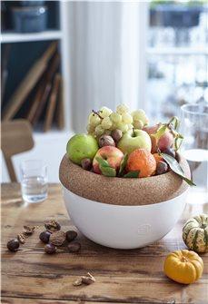 Coupe à fruits haute 4,7 l. Emile Henry bol de conservation céramique blanc Craie plateau liège